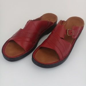 CLARKS Women's Red Slide Leather Sandals Size 9 M
